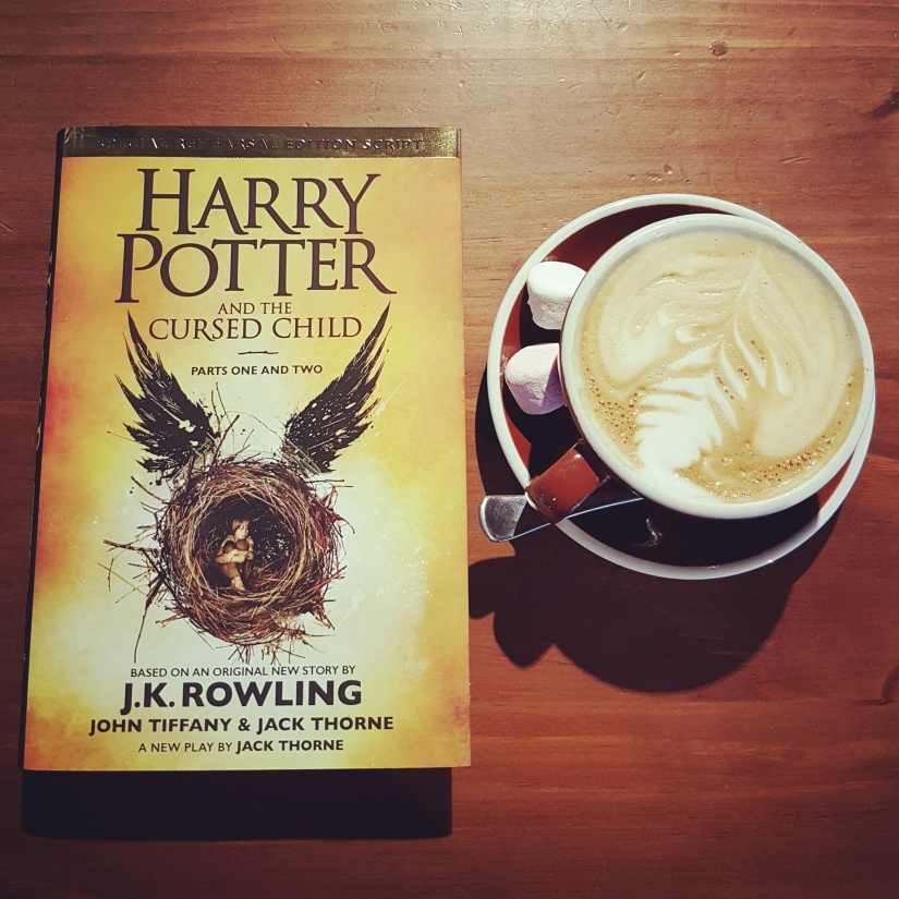 Harry Potter and the Cursed Child. And coffee. With marshmallows. For luck.
