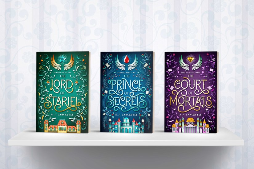 Three Stariel books - The Lord of Stariel, The Prince of Secrets, and The Court of Mortals on a white shelf.